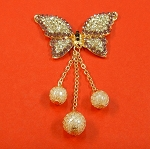 Butterfly With Rhinestones And  Pearls  Embellishment