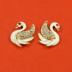 Set Of Two Swans With Rhinestones And Enamel Embellishments