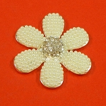 Six Petals Flower With Rhinestones And  Pearls Accents Embellishment