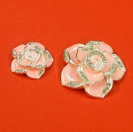 Set Of Two Pink Flowers With Rhinestones and Enamel Accents Embellishments