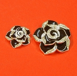 Set Of Two Black Flowers With Rhinestones and Enamel Accents Embellishments