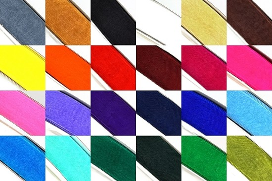 50 Yard Sheer Organza Ribbon Rolls in 24 Colors - Select Size: 3/8