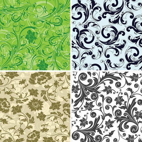 "FOUR 12"" X 12"" BLINGGASM ADHESIVE VINYL OR HEAT TRANSFER SHEETS SET, PAISLEY, FLOWERS, PATTERN OUTDOOR VINYL 016"