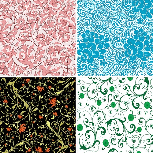 "FOUR 12"" X 12"" BLINGGASM ADHESIVE VINYL OR HEAT TRANSFER SHEETS SET, PAISLEY, FLOWERS, PATTERN OUTDOOR VINYL 018"