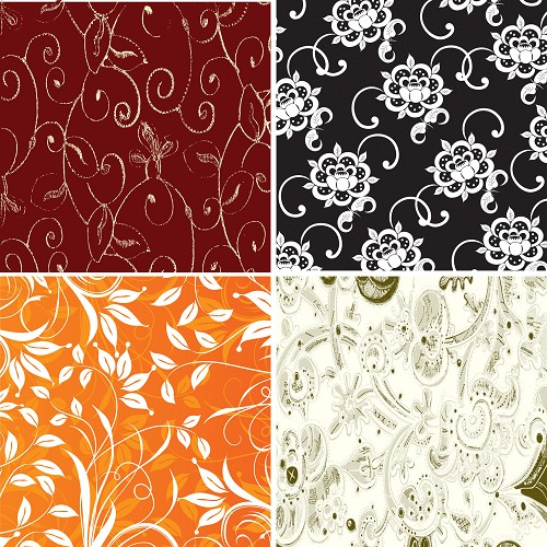 "FOUR 12"" X 12"" BLINGGASM ADHESIVE VINYL OR HEAT TRANSFER SHEETS SET, PAISLEY, FLOWERS, PATTERN OUTDOOR VINYL 035"