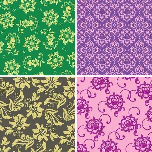 "FOUR 12"" X 12"" BLINGGASM ADHESIVE VINYL OR HEAT TRANSFER SHEETS SET, PAISLEY, FLOWERS, PATTERN OUTDOOR VINYL 038"