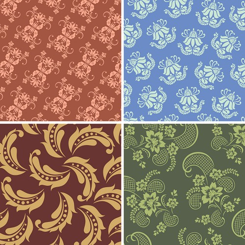 "FOUR 12"" X 12"" BLINGGASM ADHESIVE VINYL OR HEAT TRANSFER SHEETS SET, PAISLEY, FLOWERS, PATTERN OUTDOOR VINYL 039"