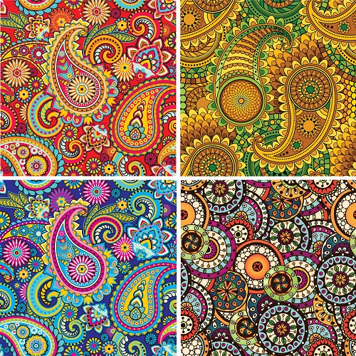 "FOUR 12"" X 12"" BLINGGASM ADHESIVE VINYL OR HEAT TRANSFER SHEETS SET, PAISLEY, FLOWERS, PATTERN OUTDOOR VINYL 054"