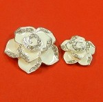 Set Of Two White Flowers With Rhinestones and Enamel Accents Embellishments