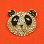 Panda Bear With Rhinestones Accents Embellishment