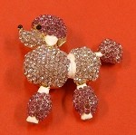 Large Poodle With Pink and Light Rose Rhinestones Accents  Embellishment