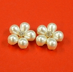 Set Of Two Flowers With Rhinestones And White Pearls Accents  Embellishments
