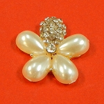 Flower With Rhinestones And  Pearls  Accents Embellishment