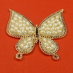 Large Butterfly With Rhinestones And  Pearls  Embellishment