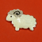 White Sheep With Rhinestones And Enamel Accents Embellishment