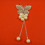 Butterfly With Crystal Rhinestones And  Pearls  Embellishment