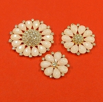 Set Of Three Flower With Rhinestones And  Pink Pearls Accents  Embellishment