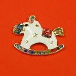 Christmas White Swinging Horse With Rhinestones And Enamel Accents Embellishment