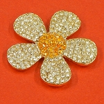 Chamomile Flower with Rhinestones Accents Embellishment