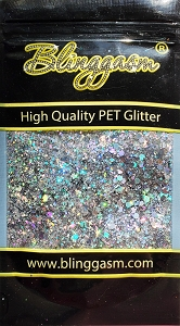 Chunky Mix Solvent Resistant Blinggasm Polyester Glitter 1.75 oz By Weight  #1 LB100 SILVER HOLOGRAPHIC