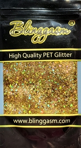 Chunky Mix Solvent Resistant Blinggasm Polyester Glitter 1.75 oz By Weight  #2 LB200 GOLD HOLOGRAPHIC