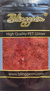 Chunky Mix Solvent Resistant Blinggasm Polyester Glitter 1.75 oz By Weight  #6 LB300 RED HOLOGRAPHIC