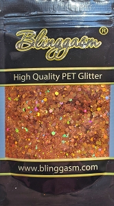 Chunky Mix Solvent Resistant Blinggasm Polyester Glitter 1.75 oz By Weight  #8 LB400 ORANGE HOLOGRAPHIC