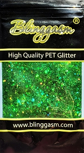 Chunky Mix Solvent Resistant Blinggasm Polyester Glitter 1.75 oz By Weight  #11 LB600 GREEN HOLOGRAPHIC
