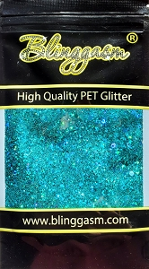 Chunky Mix Solvent Resistant Blinggasm Polyester Glitter 1.75 oz By Weight  #14 LB701 TURQUOISE HOLOGRAPHIC
