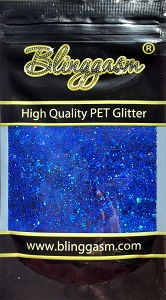 Chunky Mix Solvent Resistant Blinggasm Polyester Glitter 1.75 oz By Weight  #16 LB705 ROYAL BLUE HOLOGRAPHIC