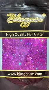 Chunky Mix Solvent Resistant Blinggasm Polyester Glitter 1.75 oz By Weight  #18 LB800 PURPLE HOLOGRAPHIC