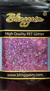 Chunky Mix Solvent Resistant Blinggasm Polyester Glitter 1.75 oz By Weight  #20 LB901 PINK HOLOGRAPHIC
