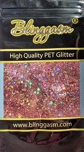 Chunky Mix Solvent Resistant Blinggasm Polyester Glitter 1.75 oz By Weight  #21 LB911 ROSE GOLD HOLOGRAPHIC