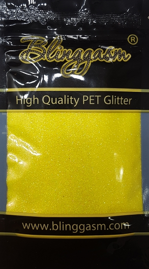 Fluorescent Solvent Resistant Blinggasm Polyester Glitter 3.5 oz By Weight .008 Or .015 Choose Size From Menu #4 FC330 Canary Yellow