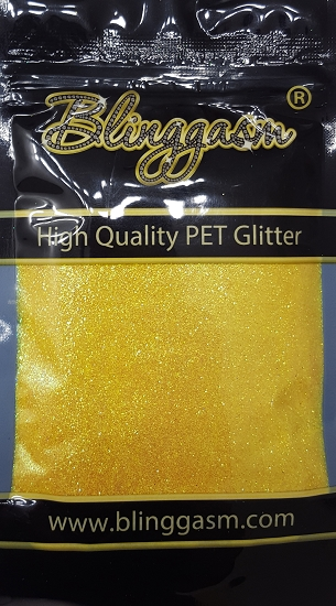 Fluorescent Solvent Resistant Blinggasm Polyester Glitter 3.5 oz By Weight .008 Or .015 Choose Size From Menu #5 FC332 BUMBLE BEE YELLOW