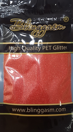 Fluorescent Solvent Resistant Blinggasm Polyester Glitter 3.5 oz By Weight .008 Or .015 Choose Size From Menu #9 FC338 LIGHT RED