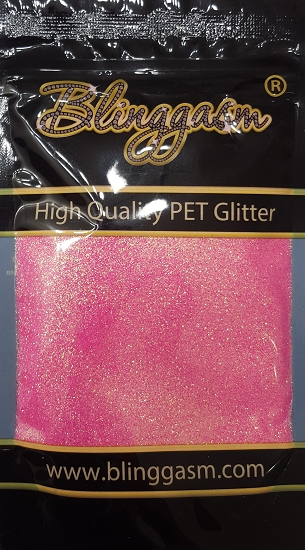 Fluorescent Solvent Resistant Blinggasm Polyester Glitter 3.5 oz By Weight .008 Or .015 Choose Size From Menu #10 FC339 PINK