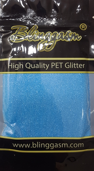 Fluorescent Solvent Resistant Blinggasm Polyester Glitter 3.5 oz By Weight .008 Or .015 Choose Size From Menu #12 FC347 OCEAN BLUE