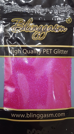 Fluorescent Solvent Resistant Blinggasm Polyester Glitter 3.5 oz By Weight .008 Or .015 Choose Size From Menu #13 FC348 FUCHSIA