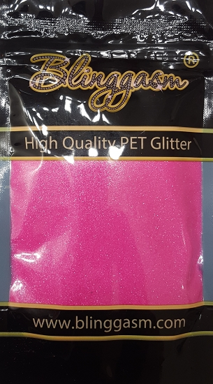 Fluorescent Solvent Resistant Blinggasm Polyester Glitter 3.5 oz By Weight .008 Or .015 Choose Size From Menu #14 FC349 HOT PINK