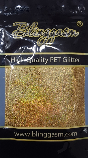 Holographic Solvent Resistant Blinggasm Polyester Glitter 3.5 oz By Weight .008 Or .015 Choose Size From Menu #3 LB200A DIAMOND GOLD