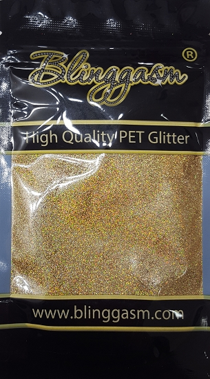 Holographic Solvent Resistant Blinggasm Polyester Glitter 3.5 oz By Weight .008 Or .015 Choose Size From Menu #5 LB210 GREEN GOLD