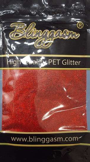 Holographic Solvent Resistant Blinggasm Polyester Glitter 3.5 oz By Weight .008 Or .015 Choose Size From Menu #6 LB300 RED