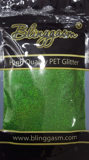 Holographic Solvent Resistant Blinggasm Polyester Glitter 3.5 oz By Weight .008 Or .015 Choose Size From Menu #11 LB600 GREEN