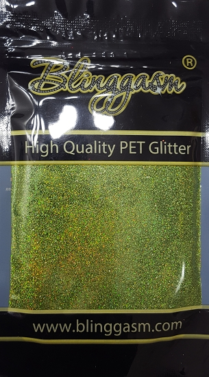 Holographic Solvent Resistant Blinggasm Polyester Glitter 3.5 oz By Weight .008 Or .015 Choose Size From Menu #12 LB601 LIGHT GREEN