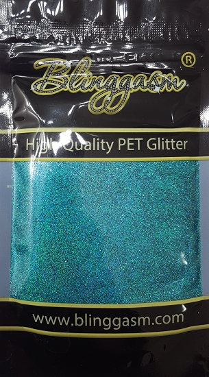 Holographic Solvent Resistant Blinggasm Polyester Glitter 3.5 oz By Weight .008 Or .015 Choose Size From Menu #14 LB701 TURQUOISE