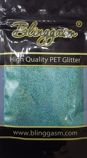 Holographic Solvent Resistant Blinggasm Polyester Glitter 3.5 oz By Weight .008 Or .015 Choose Size From Menu #15 LB702 AQUA