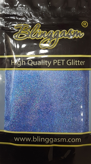 Holographic Solvent Resistant Blinggasm Polyester Glitter 3.5 oz By Weight .008 Or .015 Choose Size From Menu #17 LB709 LIGHT SAPPHIRE