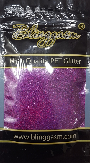Holographic Solvent Resistant Blinggasm Polyester Glitter 3.5 oz By Weight .008 Or .015 Choose Size From Menu #18 LB800 PURPLE