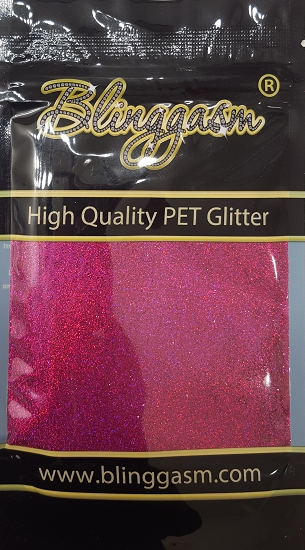 Holographic Solvent Resistant Blinggasm Polyester Glitter 3.5 oz By Weight .008 Or .015 Choose Size From Menu #19 LB900 FUCHSIA PURPLE
